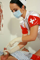 Latex gloved medical examination